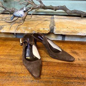 Ralph Lauren Collection Brown Suede Slingbacks